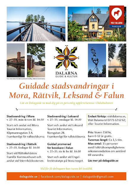Bilder från Rättviks långbrygga, Zorngården, Spruthuset i Falun, Majstång. Text: Guidade stadsvandringar i Mora, Rättvik, Leksand och Falun.